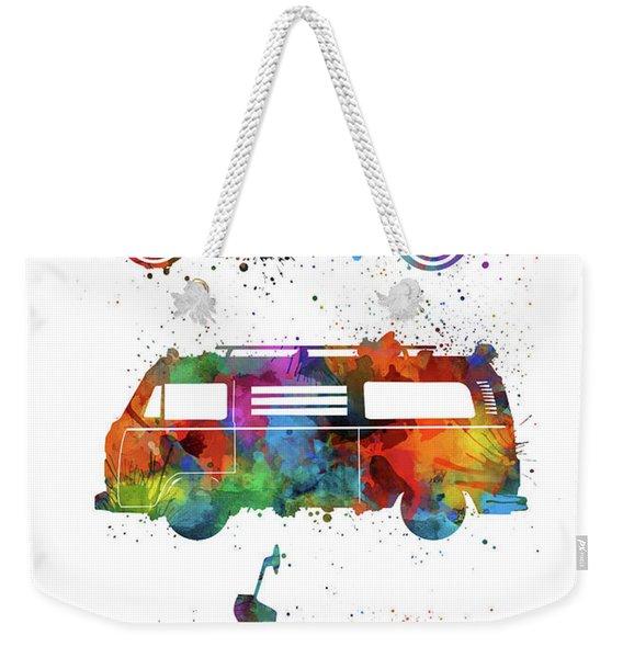 Retro Wheels Watercolor Weekender Tote Bag