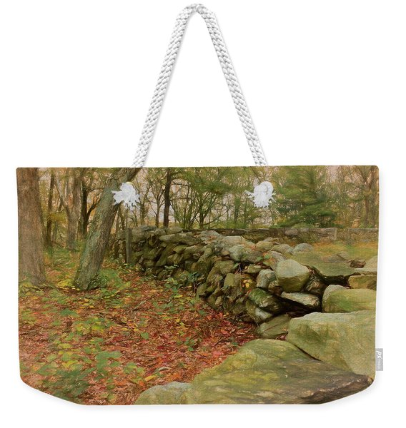 Weekender Tote Bag featuring the photograph Reverie With Stone by Nancy De Flon