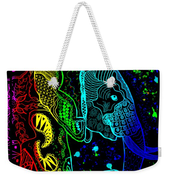 Rainbow Zentangle Elephant With Black Background Weekender Tote Bag