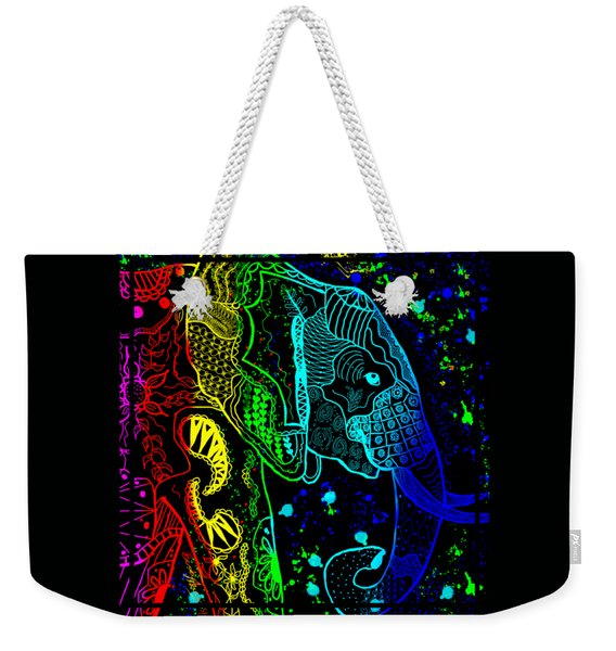 Rainbow Zentangle Elephant With Black Background Weekender Tote Bag