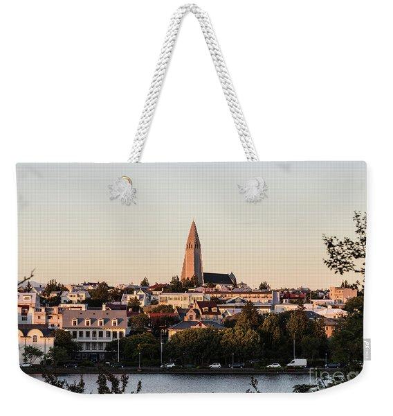 Reykjavik Skyline Weekender Tote Bag