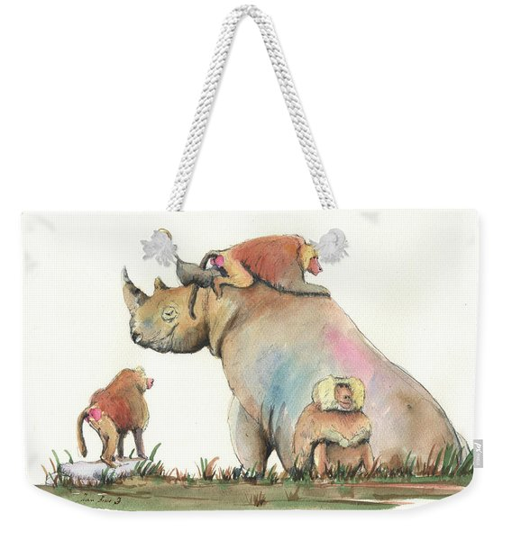 Rhino And Baboons Weekender Tote Bag