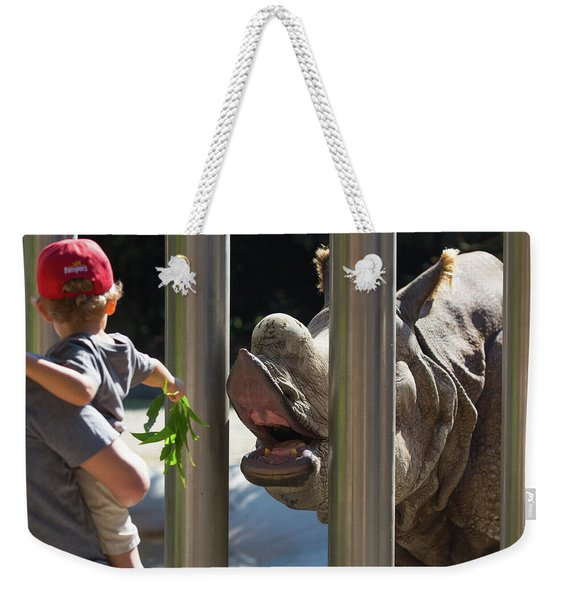 Rhino Eating Grass Weekender Tote Bag