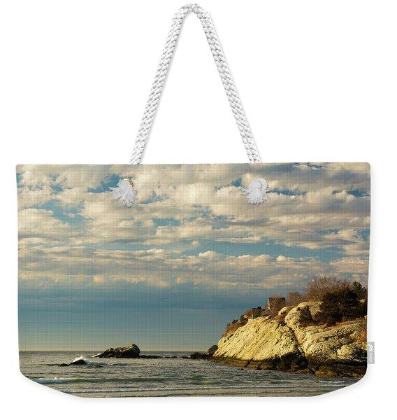 Weekender Tote Bag featuring the photograph Rhode Island Beach In Winter by Nancy De Flon