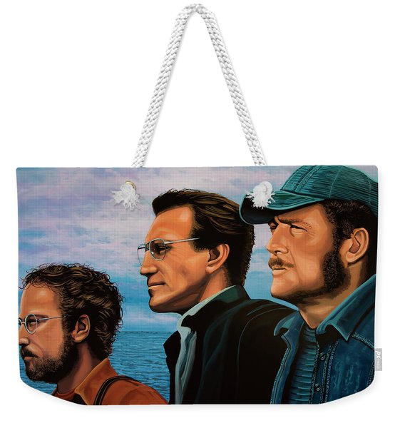 Jaws With Richard Dreyfuss, Roy Scheider And Robert Shaw Weekender Tote Bag