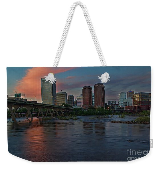Weekender Tote Bag featuring the photograph Richmond Dusk Skyline by Jemmy Archer
