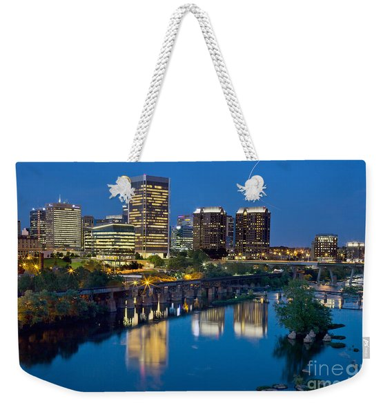 Weekender Tote Bag featuring the photograph Richmond Skyline Helo Trail by Jemmy Archer