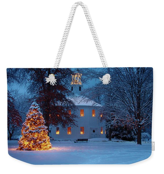 Weekender Tote Bag featuring the photograph Richmond Vermont Round Church At Christmas by Jeff Folger