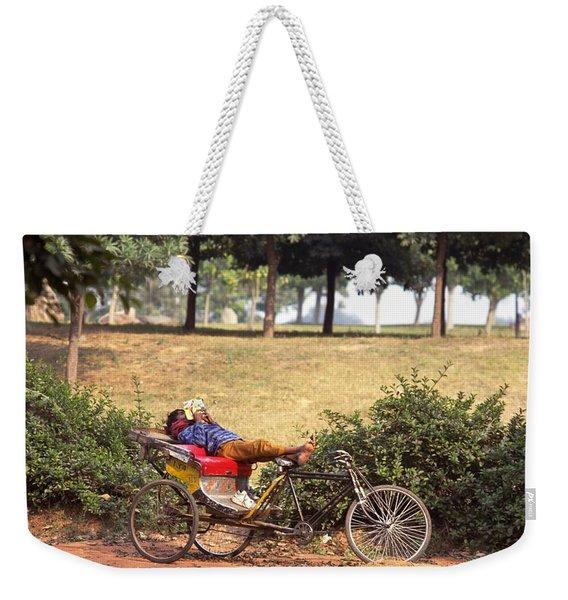 Rickshaw Rider Relaxing Weekender Tote Bag
