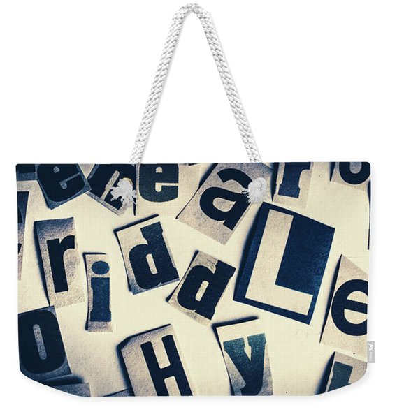 Riddles Of Contextual Scatter Weekender Tote Bag