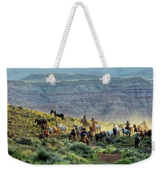 Riding Out Of The Sunrise Weekender Tote Bag