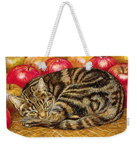 Right Hand Apple Cat Weekender Tote Bag