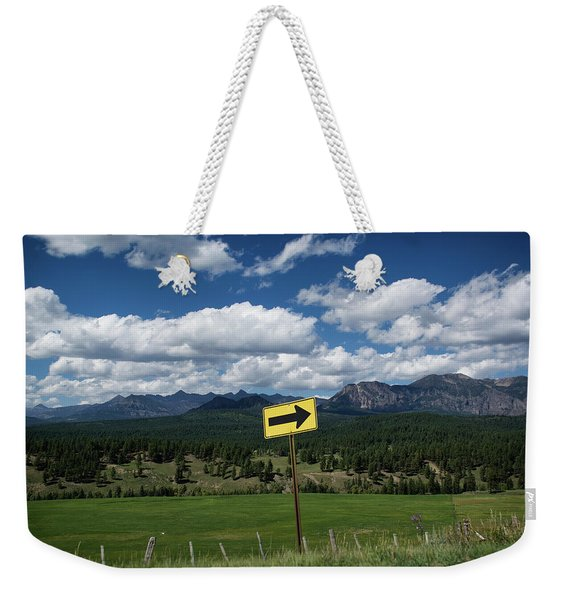 Weekender Tote Bag featuring the photograph Right This Way by Jason Coward
