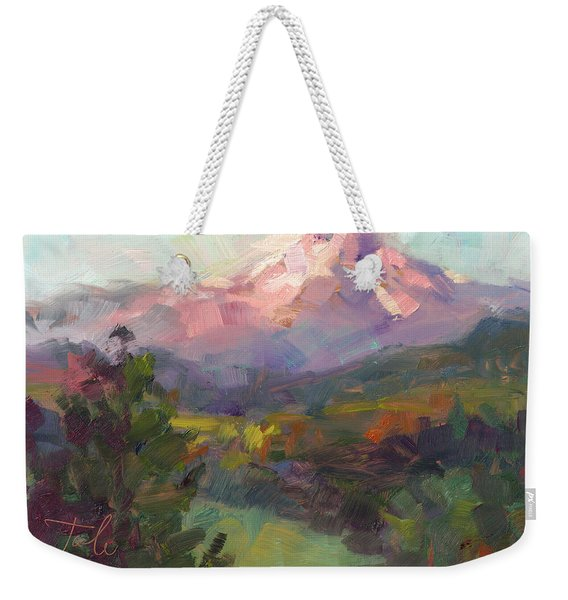 Weekender Tote Bag featuring the painting Rise And Shine by Talya Johnson