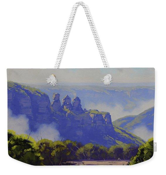 Rising Mist Three Sisters Australia Weekender Tote Bag