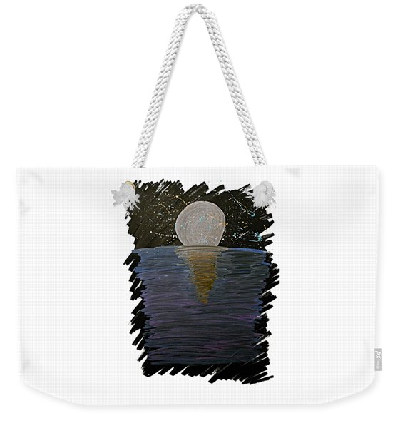 Weekender Tote Bag featuring the drawing Rising Moon by Bee-Bee Deigner