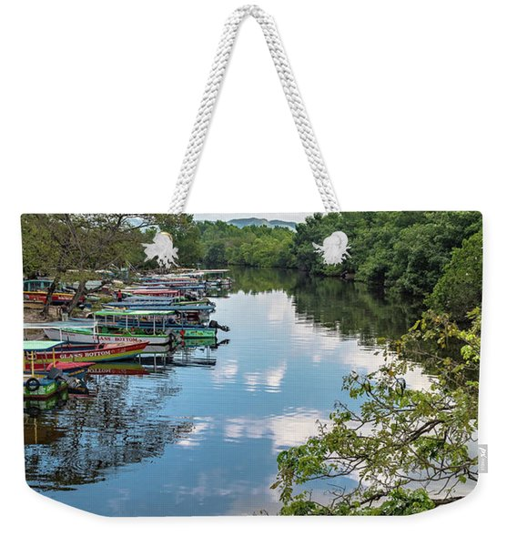 River Boats Docked In Negril, Jamaica Weekender Tote Bag