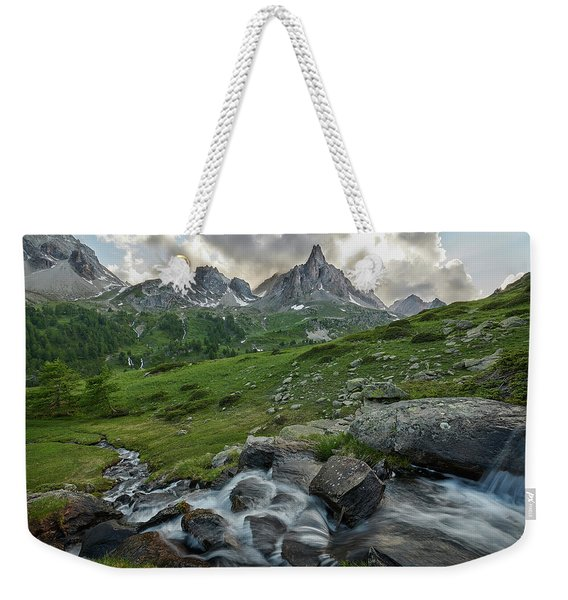 River In The French Alps Weekender Tote Bag
