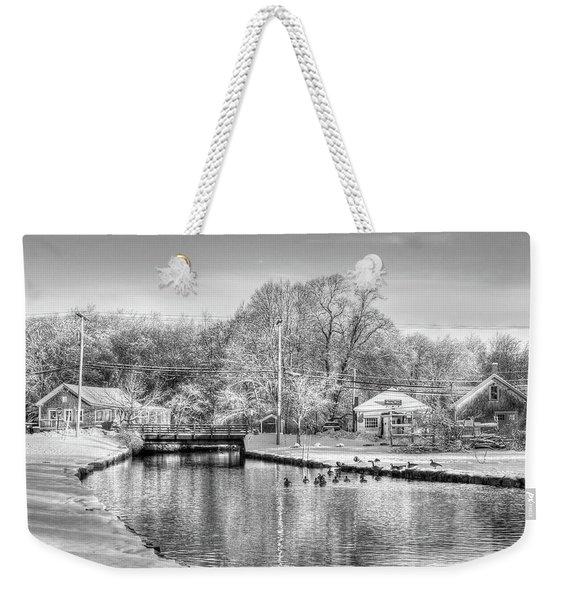 River In The Snow Weekender Tote Bag