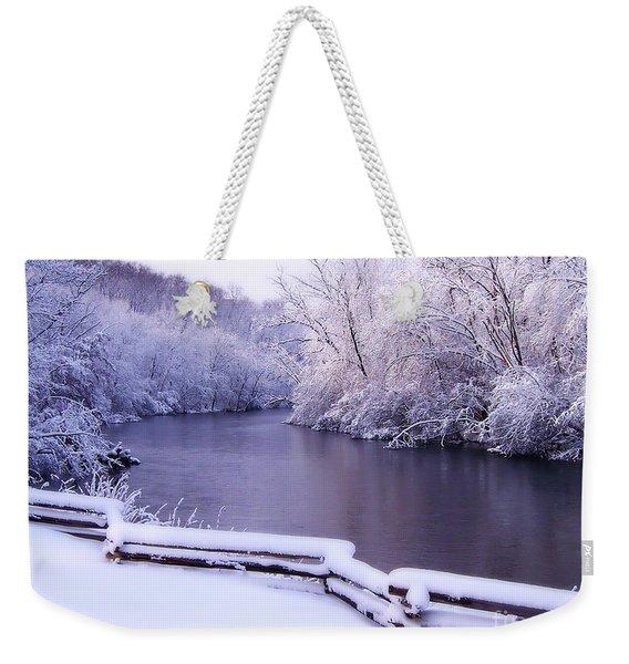 River In Winter Weekender Tote Bag