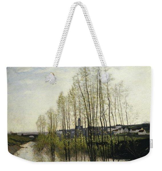 River Landscape, Champagne, 1876 Weekender Tote Bag