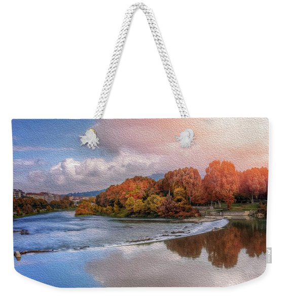 River Po Turin Italy  Weekender Tote Bag