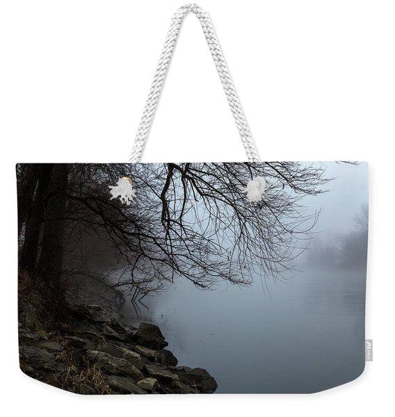 Riverbank In The Fog Weekender Tote Bag