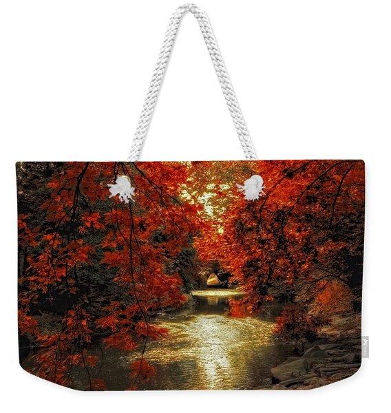 Riverbank Red Weekender Tote Bag
