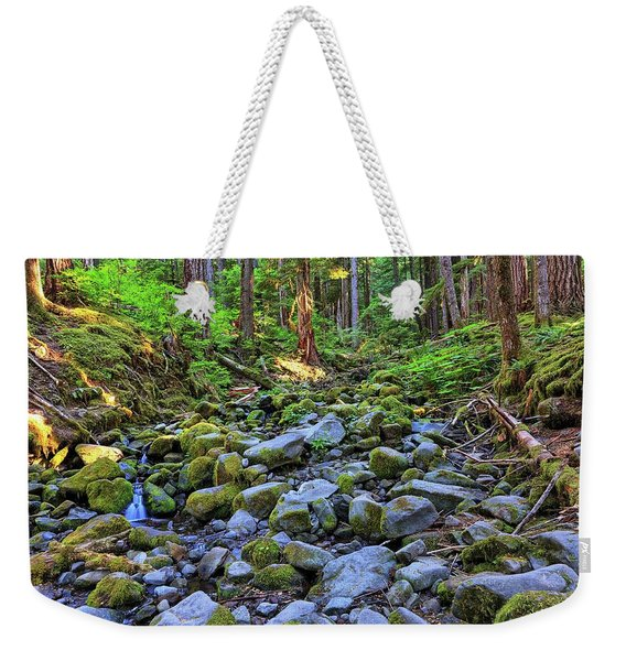 Riverbed Full Of Mossy Stones With Small Cascade Weekender Tote Bag