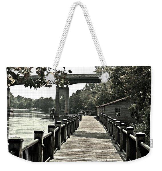 Riverwalk Conway South Carolina Black And White Weekender Tote Bag