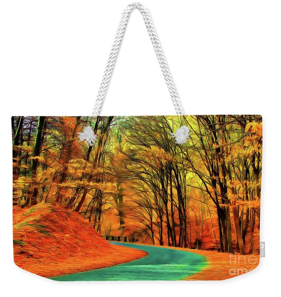 Road Leading Through The Autumn Woods Weekender Tote Bag