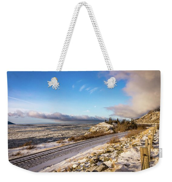 Road, Tracks, And Water Weekender Tote Bag