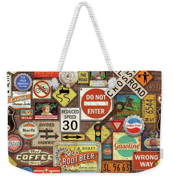 Roads Signs On Brick-jp3957 Weekender Tote Bag
