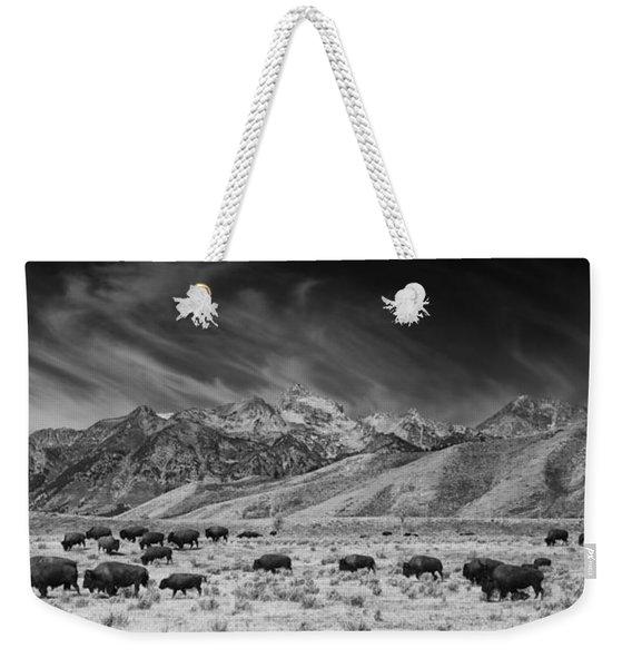 Roaming Bison In Black And White Weekender Tote Bag