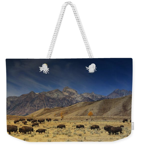 Roaming Bison Weekender Tote Bag