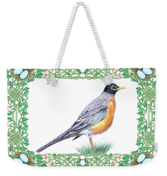 Robin In Spring Weekender Tote Bag