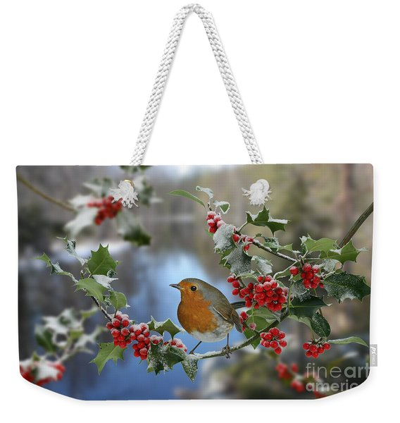 Robin On Holly Branch Weekender Tote Bag