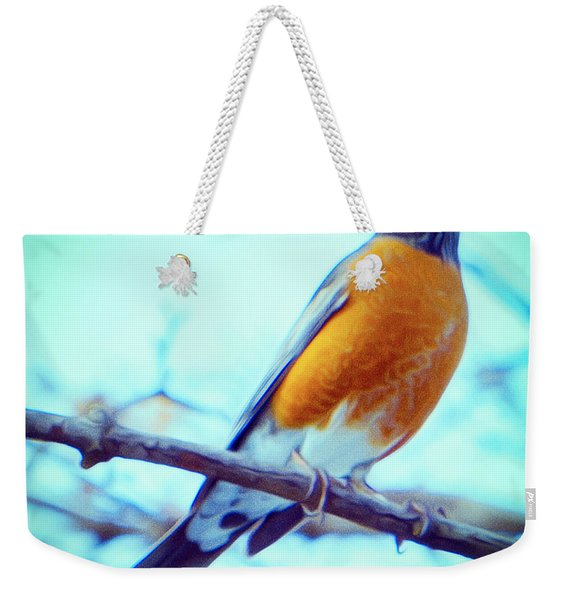 Robin Red Breast In Winter - Impressionism Weekender Tote Bag