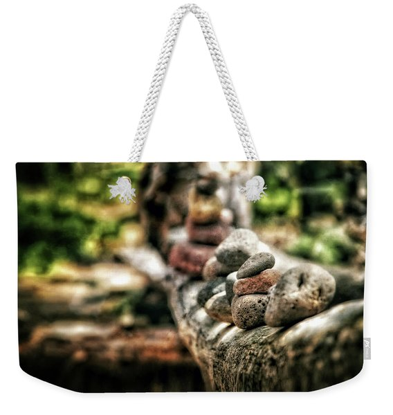 Rock Cairn At Buddha Beach Sitting On Tree Branch - Sedona Weekender Tote Bag