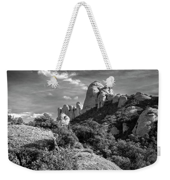 Rock Formations Montserrat Spain II Bw Weekender Tote Bag