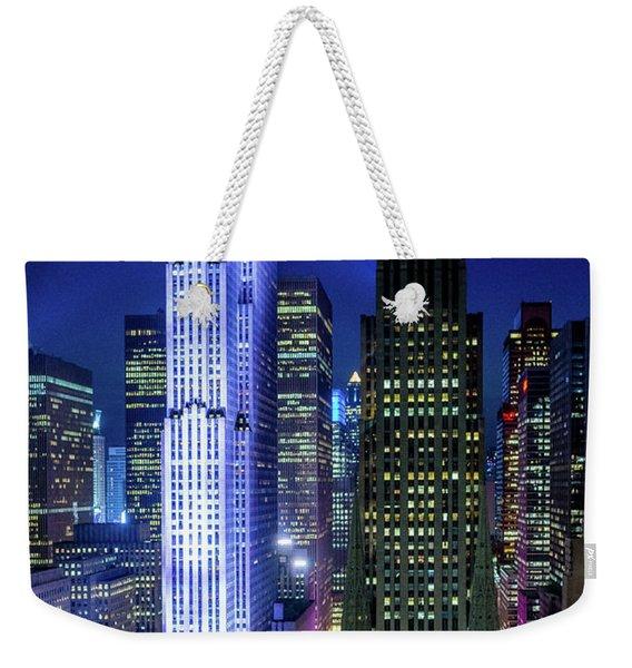 Rockefeller At Night Weekender Tote Bag