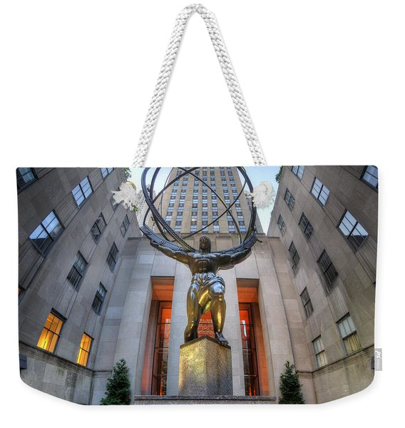 Rockefeller Centre Atlas - Nyc - Vertorama Weekender Tote Bag