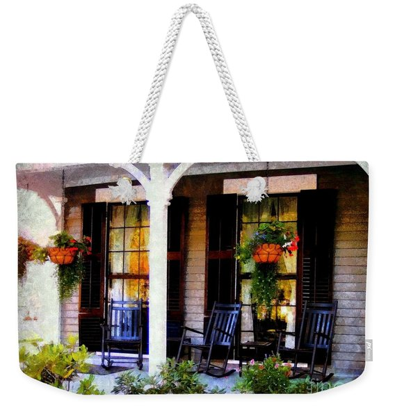 Rocking Chairs On A Country Porch  Weekender Tote Bag