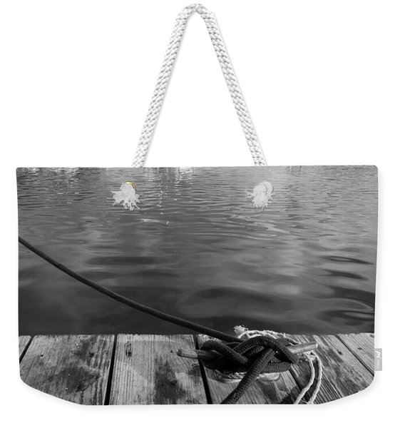 Weekender Tote Bag featuring the photograph Rockport Harbor, Maine #80458-bw by John Bald