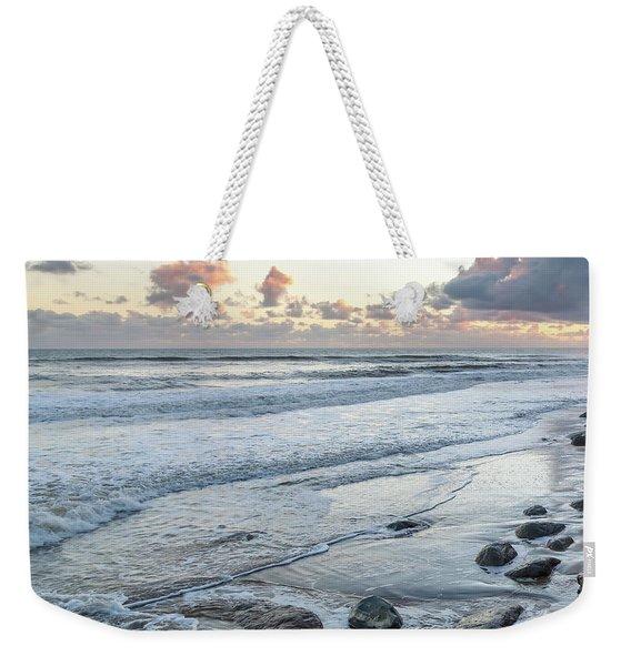 Rocks On The Beach During Sunset Weekender Tote Bag