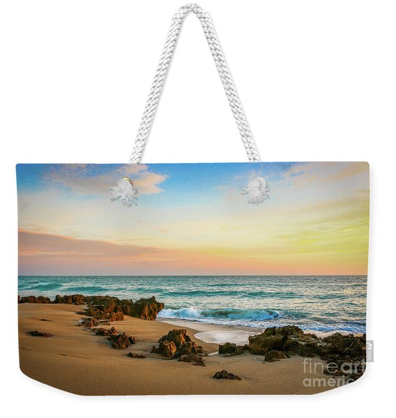 Weekender Tote Bag featuring the photograph Rocky Beach by Tom Claud