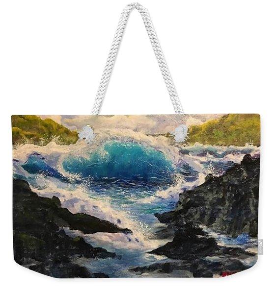 Rocky Sea Weekender Tote Bag