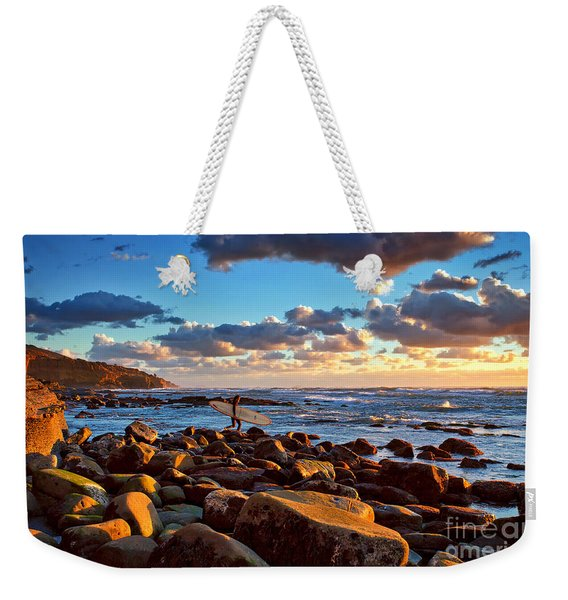 Weekender Tote Bag featuring the photograph Rocky Surf Conditions by Sam Antonio Photography