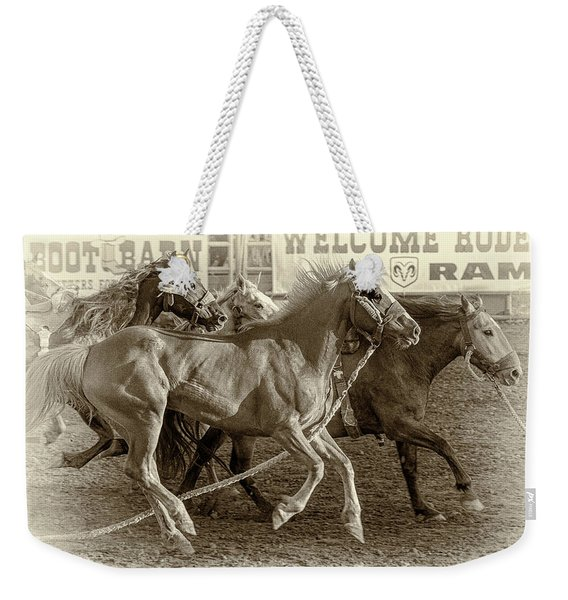 Rodeo Horses - Antique Sepia Weekender Tote Bag