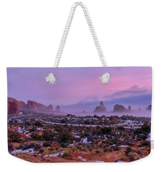 Rolling Mist Through Arches Weekender Tote Bag